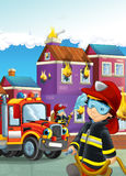 Cartoon illustration with fire fighter and truck at work putting out the fire. Beautiful colorful illustration caricature for the children for different usage Royalty Free Stock Images