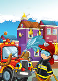 Cartoon illustration with fire fighter and truck at work putting out the fire. Beautiful colorful illustration caricature for the children for different usage Royalty Free Stock Image