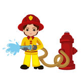 Cartoon illustration of a firefighter boy. Vector illustration isolated on white background Royalty Free Stock Photography