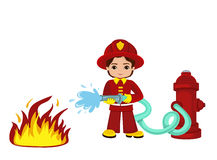 Cartoon illustration of a firefighter boy. Vector illustration isolated on white background Stock Photos