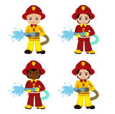 Cartoon illustration of a firefighter boy. Vector Illustration isolated on white background Stock Photo