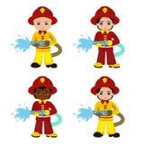 Cartoon illustration of a firefighter boy. Stock Photo