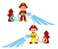 Cartoon illustration of a firefighter boy. Vector Illustration isolated on white background Stock Image