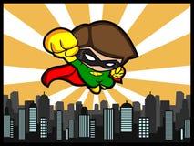 City Defender Flying. A cartoon illustration of a flying city defender Royalty Free Stock Image