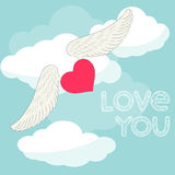 Cartoon illustration with flying heart with wings in the sky with clouds and hand-drawing words of love for valentines day Royalty Free Stock Photography