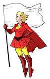 Cartoon illustration of a flying super lady Royalty Free Stock Photography