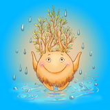 Cartoon illustration with forest spirit on a rainy day. Mythical Royalty Free Stock Photos