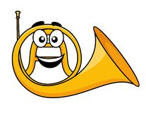 Cartoon illustration of a french horn Stock Photos