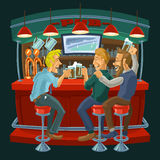 Cartoon illustration of friends drinking beer in a bar Stock Images