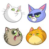 Cartoon Illustration of funny Cats ot Kittens Heads Collection Set. Vector pack of colorful cats icons Royalty Free Stock Photography