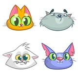Cartoon Illustration of funny Cats ot Kittens Heads Collection Set. Vector pack of colorful cats icons Royalty Free Stock Images