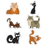 Cartoon illustration of funny cats set.Fat, skinny red, black and tabby cats Set of stickers of cute Pets royalty free illustration