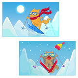 Cartoon illustration with funny cats-skiers on the background of mountain landscape Stock Photo