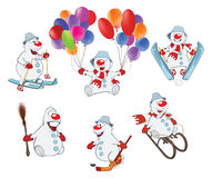 Cartoon Illustration of a Funny Christmas Snowman for you Design Royalty Free Stock Photo