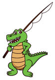 Cartoon illustration of a funny crocodile with fishing rod Stock Photo