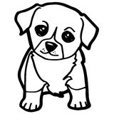 Cartoon Illustration of Funny Dog for Coloring Book. Image of cartoon dog coloring page on white vector royalty free illustration