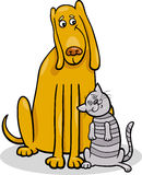 Dog and cat in friendship cartoon illustration Stock Photography