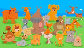 Dogs and cats cartoon characters group. Cartoon Illustration of Funny Dogs and Cats Animal Characters Group Royalty Free Stock Photography