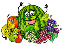 Funny fruit characters group cartoon royalty free illustration
