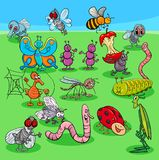 Vector cartoon insects characters group royalty free illustration