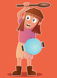 Cartoon illustration of a funny little girl playing as warrior Royalty Free Stock Photography
