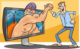 Cartoon man and interactive television Royalty Free Stock Photography