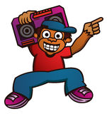 Cartoon illustration of a funny monkey with boombox Royalty Free Stock Images
