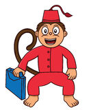 Cartoon illustration of a funny monkey working as a bellboy royalty free illustration