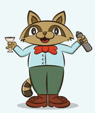 Cartoon illustration of a funny raccoon working as bartender Stock Photos