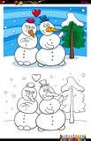 Snowmen in love coloring book vector illustration