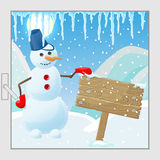 Cartoon illustration ,Funny snowman next to a wooden sign in a winter landscape, the view from the window Royalty Free Stock Image