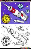 Space rocket character coloring book royalty free illustration