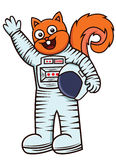 Cartoon illustration of a funny squirrel astronaut Stock Photography