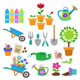 Cartoon illustration Gardening icon set. Stock Photography