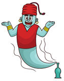 Cartoon illustration of a genie comes out from a magical bottle Royalty Free Stock Images