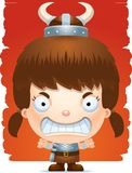 Angry Cartoon Girl Barbarian. A cartoon illustration of a girl barbarian with an angry expression Stock Photo