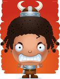 Angry Cartoon Girl Barbarian. A cartoon illustration of a girl barbarian with an angry expression Royalty Free Stock Images