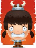 Angry Cartoon Girl Barbarian. A cartoon illustration of a girl barbarian with an angry expression Stock Photography