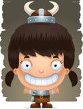 Cartoon Girl Barbarian Smiling. A cartoon illustration of a girl barbarian smiling Royalty Free Stock Image