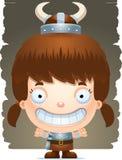 Cartoon Girl Barbarian Smiling. A cartoon illustration of a girl barbarian smiling Royalty Free Stock Photo