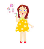 Cartoon illustration of a girl blow bubbles Stock Image