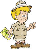 Cartoon illustration of an girl explorer Stock Photography