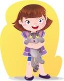 Cartoon Illustration of Girl with Kitten Pet Stock Photos
