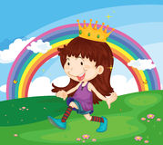 Cartoon illustration of a girl in the park Royalty Free Stock Photography
