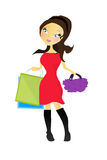 Cartoon illustration of a girl with shopping Royalty Free Stock Photography