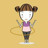 Cartoon illustration girl twirling hoop Royalty Free Stock Photos