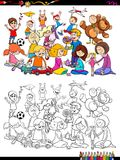 Playful children characters group coloring book Royalty Free Stock Photo