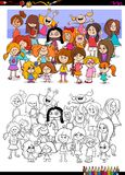 Girls characters group coloring book. Cartoon Illustration of Girls Children Characters Group Coloring Book Activity Royalty Free Stock Images