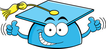 Cartoon graduation cap giving thumbs up Stock Photography
