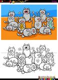 Cats characters group coloring book. Cartoon Illustration of Gray Cats Animal Characters Group Coloring Book Activity Royalty Free Stock Photography